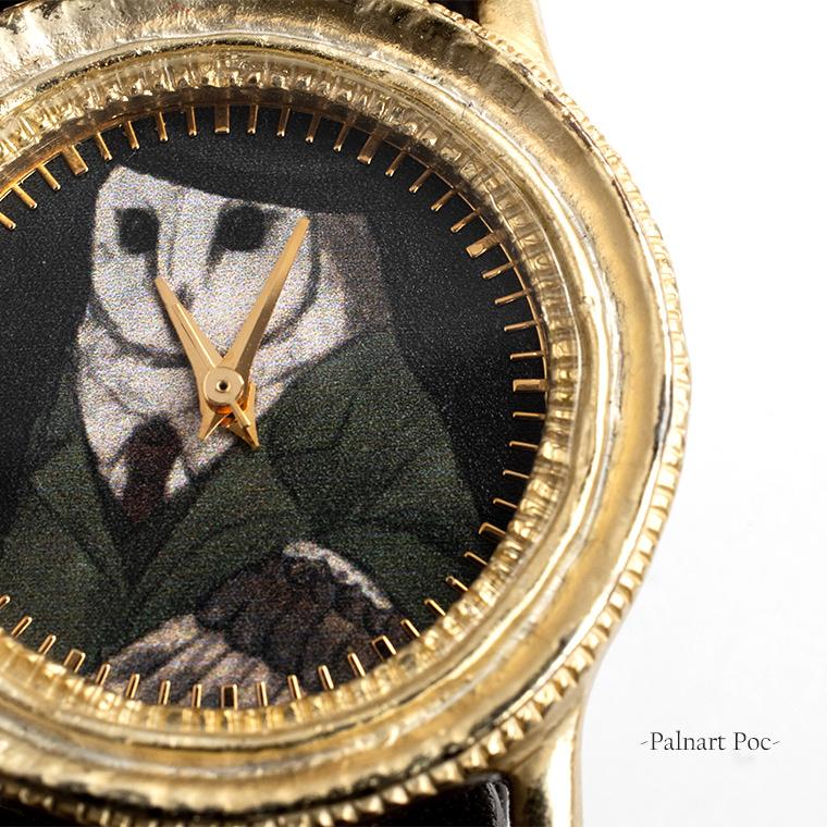 紳士フクロウのレディース腕時計 三針 クオーツ 日本製 メイドインジャパン 牛革製ベルト 額縁風ゴールドフレーム 女性用ウォッチ クリスタルガラス ハンドメイド Palnart Poc MACHINA 額縁アルバート