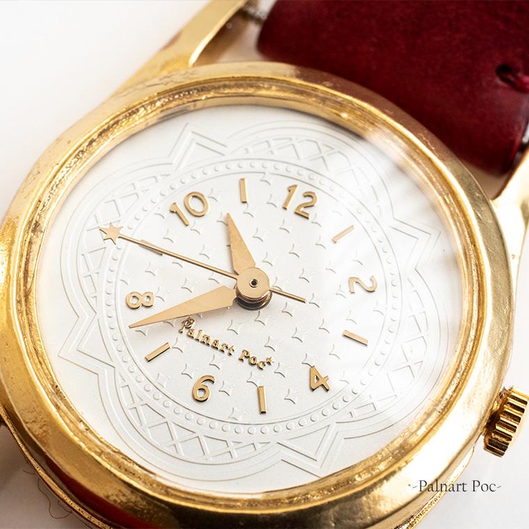 ミニマルフェミニンレディース腕時計 三針 クオーツ 日本製 メイドインジャパン 牛革製ベルト 女性用ウォッチ クリスタルガラス ハンドメイド Palnart Poc MACHINA イブラヒム
