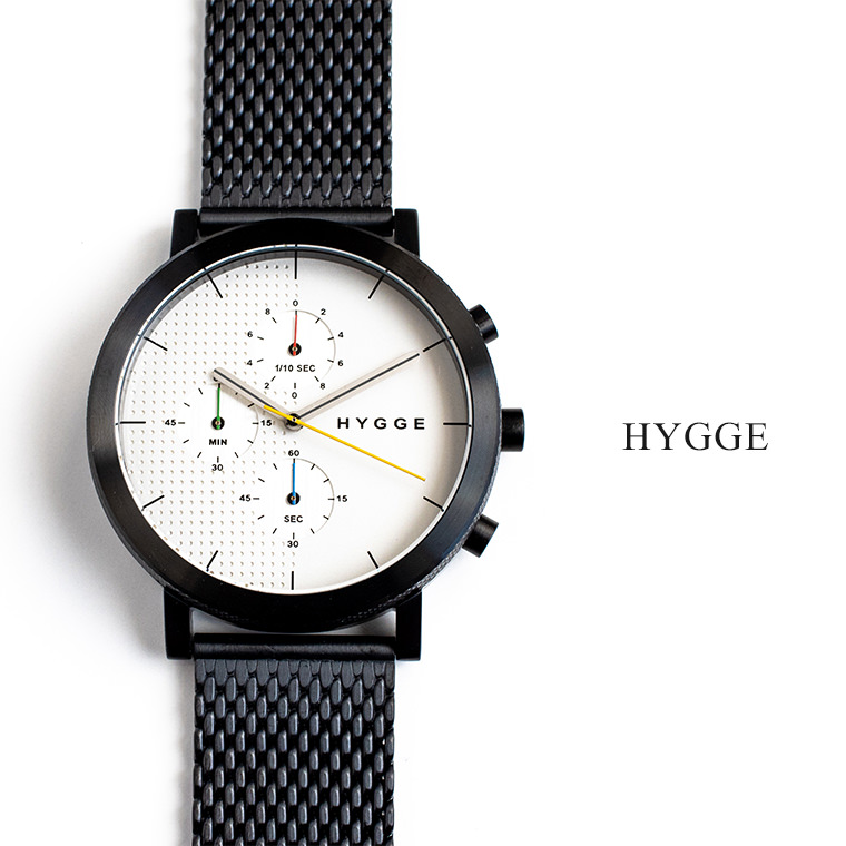 HYGGE WATCH 2204 SERIES MESH (WHITE DIAL & BLACK CASE) デンマーク・北欧 10気圧防水 日本製 ミネラルガラス ホワイトカラー クロノグラフ メンズ ストップウォッチ メッシュベルト フリーサイズ