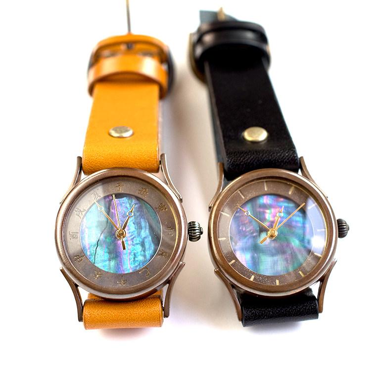 和tch レディース 螺鈿腕時計 青色 ハンドメイド ウォッチ 日本製 メイドインジャパン 伝統工芸