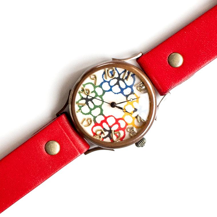 和tch メンズ カラフル和紙文字盤腕時計 花4色 ハンドメイド ウォッチ 日本製 メイドインジャパン 伝統工芸 高級和紙