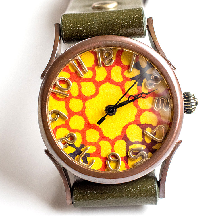 和tch レディース カラフル和紙文字盤腕時計 花黄色 ハンドメイド ウォッチ 日本製 メイドインジャパン 伝統工芸 高級和紙