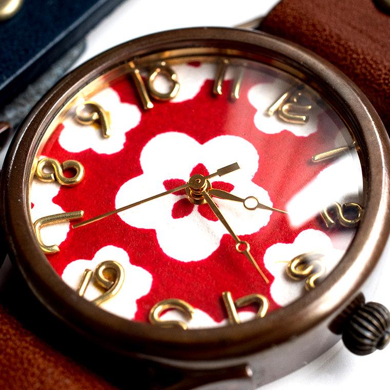 和tch メンズ カラフル和紙文字盤腕時計 梅 ハンドメイド ウォッチ 日本製 メイドインジャパン 伝統工芸 高級和紙