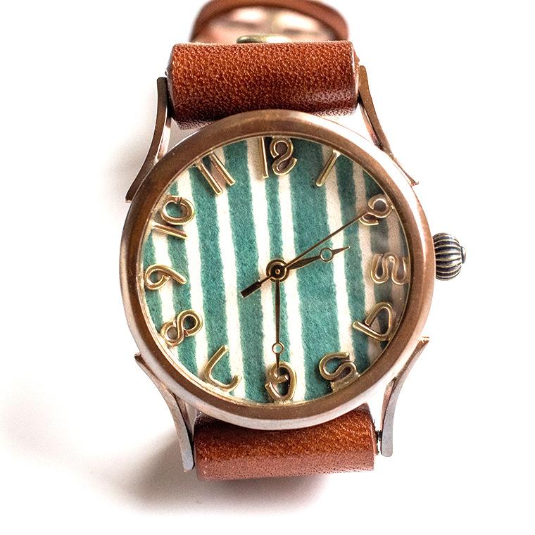 和tch レディース カラフル和紙文字盤腕時計 縞緑 ハンドメイド ウォッチ 日本製 メイドインジャパン 伝統工芸 高級和紙