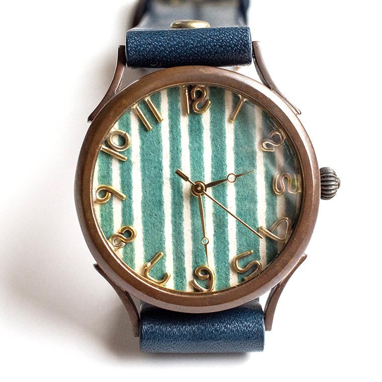 和tch メンズ カラフル和紙文字盤腕時計 縞緑 ハンドメイド ウォッチ 日本製 メイドインジャパン 伝統工芸 高級和紙