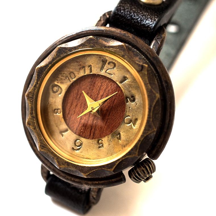 レディース 真鍮とブビンガの腕時計 木目 天然素材 ハンドメイド ウォッチ 日本製 メイドインジャパン