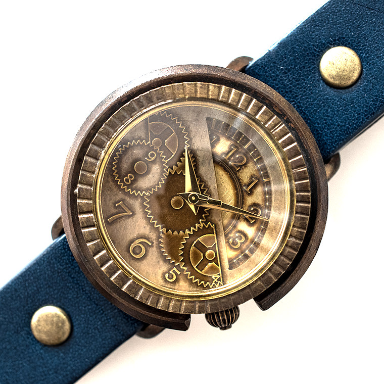 メンズ 歯車模様のアンティーク調腕時計 ハンドメイド ウォッチ 日本製 メイドインジャパン
