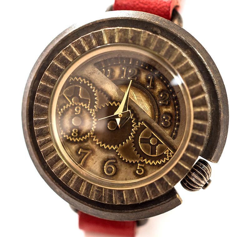 レディース 歯車模様のアンティーク調腕時計 ハンドメイド ウォッチ 日本製 メイドインジャパン