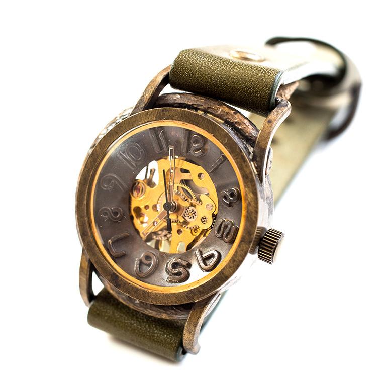 機械式手巻き腕時計 男女兼用 メンズ レディース スケルトンタイプ アンティーク調 ベルトカラー変更可能 本革ベルト ハンドメイド ウォッチ 日本製