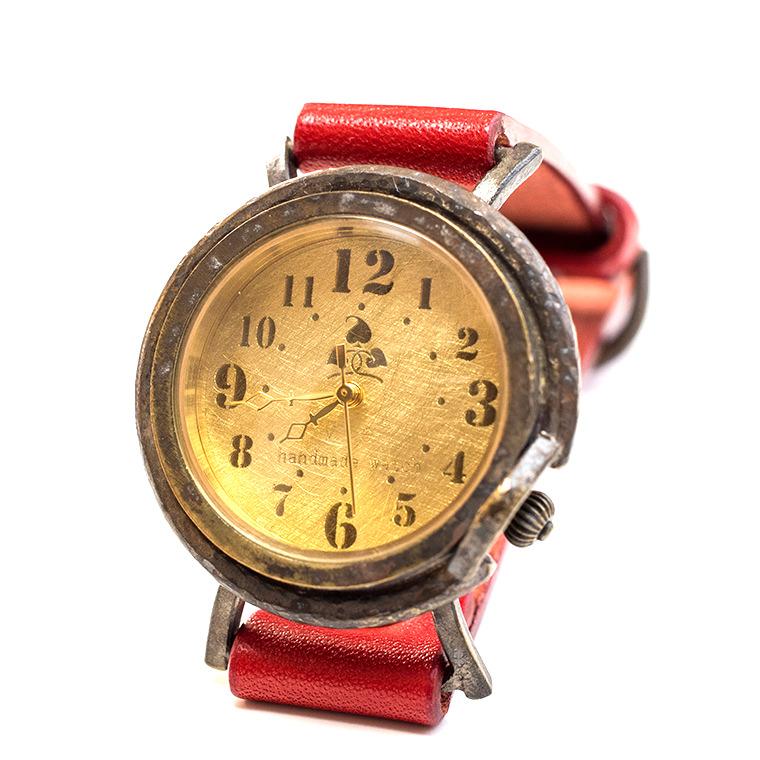 メンズ レトロ文字盤 真鍮 アンティーク調腕時計 ハンドメイド ウォッチ 日本製 メイドインジャパン