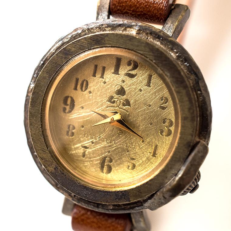 レディース レトロ文字盤 真鍮 アンティーク調腕時計 ハンドメイド ウォッチ 日本製 メイドインジャパン