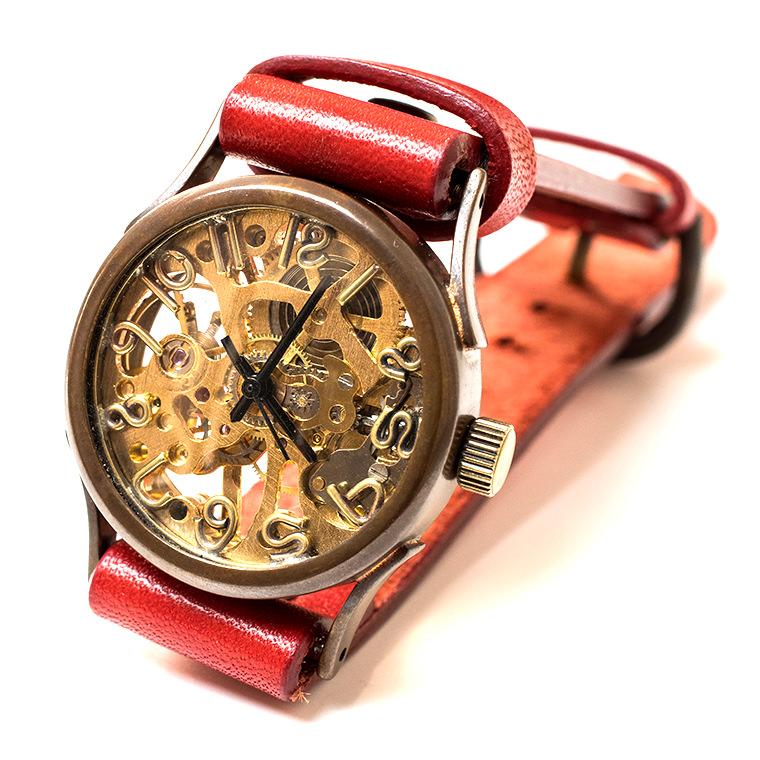 機械式手巻き腕時計 手書き風インデックス 男女兼用 メンズ レディース スケルトンタイプ アンティーク調 ベルトカラー変更可能 本革ベルト ハンドメイド ウォッチ 日本製
