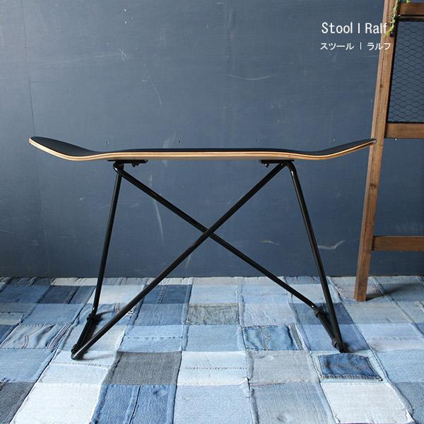 【送料無料】スツール スケートボード スツール 木製 アイアン 風 椅子 チェア イス 西海岸 男前インテリア ブルックリン カフェ風 ヴィンテージ ビンテージ シンプル かわいい 玄関 リビング ダイニング 完成品 飾り棚 サイドテーブル 荷物置き ロゴ入り ay-p29-9 ralf