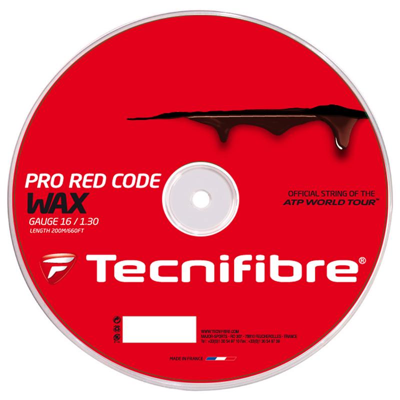 テクニファイバー プロ レッドコード ワックス 200Mロール (120/125/130) 硬式テニス ポリエステル ガット(TECNIFIBRE RED CODE WAX 200M Reel)【2016年5月登録】