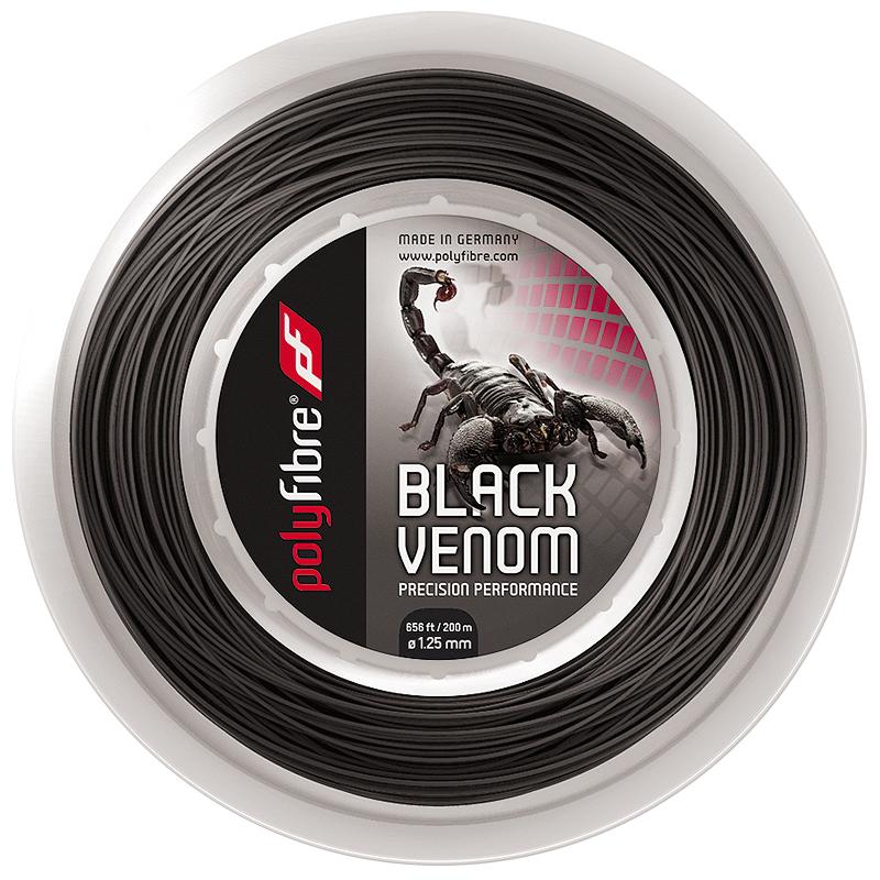 ポリファイバー ブラックヴェノム(1.15/1.20/1.25/1.30mm) 200Mロール 硬式テニス ポリエステル ガットPolyfibre Black Venom (1.15/1.20/1.25/1.30)200m roll strings ブラックベノム