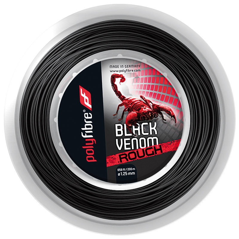 ポリファイバー ブラックヴェノム ラフ(1.25mm) 200Mロール 硬式テニスガット ポリエステルガット Polyfibre Black Venom Rouch (1.25)200m roll stringsブラックベノム