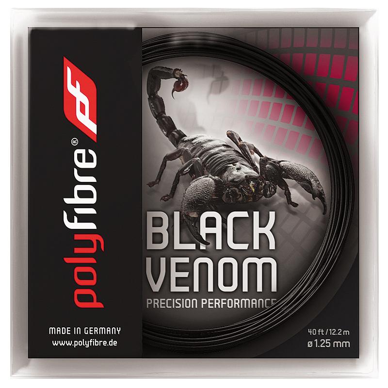 【12Mカット品】ポリファイバー ブラックヴェノム(1.15/1.20/1.25/1.30mm) 硬式テニスガットポリエステル ガットPolyfibre Black Venom (1.15/1.20/1.25/1.30) strings ブラックベノム