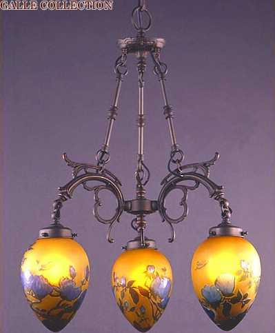 【送料無料】 AGL-0113DB-12 アカネライティング・ガレコレクション GALLE COLLECTION ガレ・コレクション MAGNOLIA(木蓮) 3灯シャンデリア ダークブロンズ