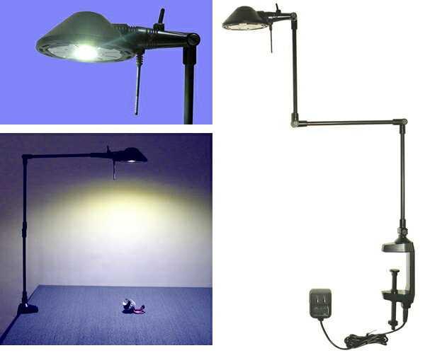 712D ニシオ商会 Pro-Task Lamp 新型LEDプロタスクランプ クランプ型 アルミ3本アーム 5WパワーLED 白色5000K