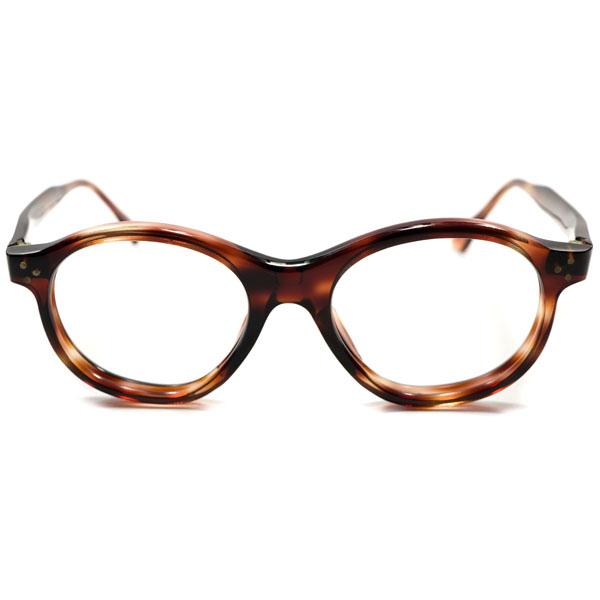 絶滅危惧種 1950s フランス製 MADE IN FRANCE デッドストック 肉厚フロント 3ドット ボストン型 パント ヴィンテージ メガネ 眼鏡 鼈甲柄 A1549