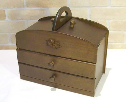 日本製 木製(桐)のソーイングボックス・引出し2段 (熟練の木工職人の手作り) 0925-12