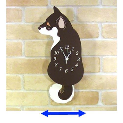 木製 振り子時計 柴犬 黒 1011-03 かわいい しばいぬ しっぽがゆらゆら プレゼント お中元 動物 毎日激安特売で 営業中です ウォールクロック 壁 いぬ 掛け時計 アニマル イヌ