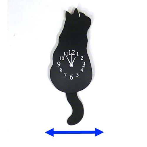 黒猫 木製 振り子時計 1011-06 かわいい しっぽがゆらゆら 掛け時計 くろねこ 動物 捧呈 トレンド 壁 プレゼント ウォールクロック アニマル クロネコ