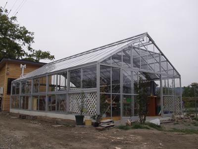 アルミ温室/2段サッシタイプ(K-8タイプ:間口5,600×奥行14,686×棟高3,696mm、24.9坪)3ミリガラス仕様