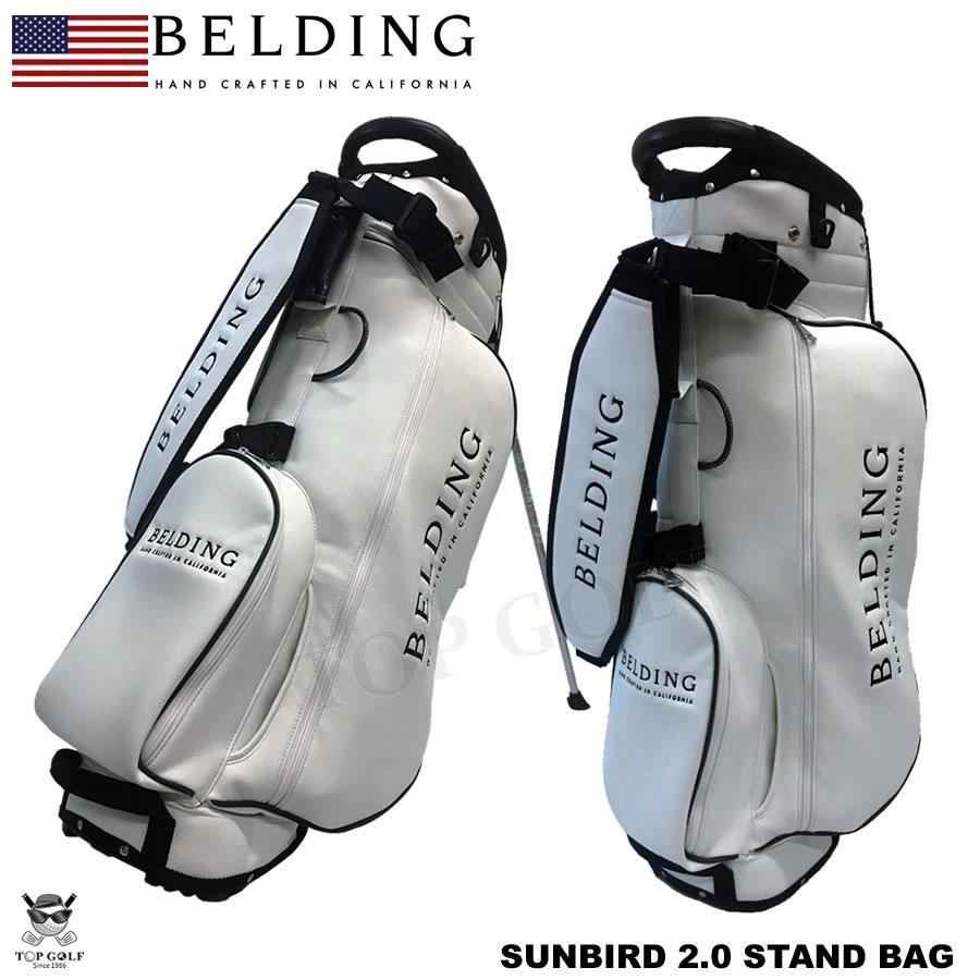 BELDING ベルディング キャディバッグ サンバード 2.0 スタンドバッグ ホワイト・クラシック 11インチロゴ ブラック刺繍 8.5型(HBCB-850123)