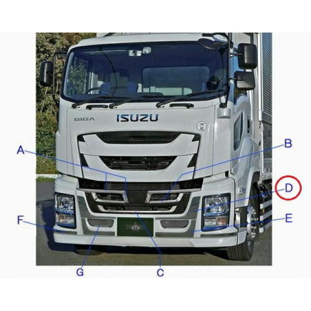 ATS ファイブスターギガ(H27.11~) 用バンパーアッパープレート L/R [材質:ステンレス(SUS430) ][取付:両面][AB07I300] ※画像Dの部分