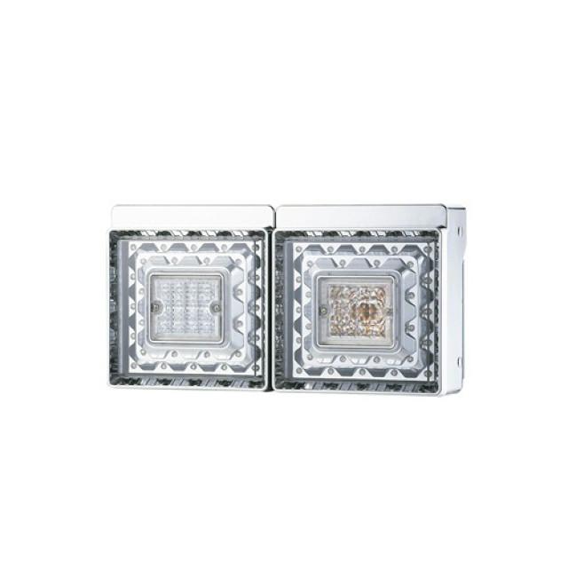 [お取寄せ] JB 角型2連LEDテールランプ L/R ●バックランプ付 ※DC24V専用 [9249034D] (日本ボデーパーツ)