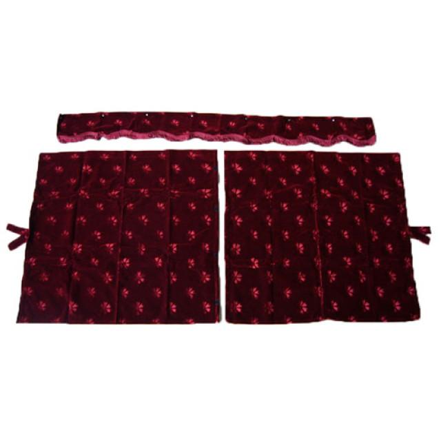 3点式センターカーテン [コスモス:エンジ(赤) ] 幅1150×丈1100mm 2枚入(波型の前飾り付) [4t~大型用]