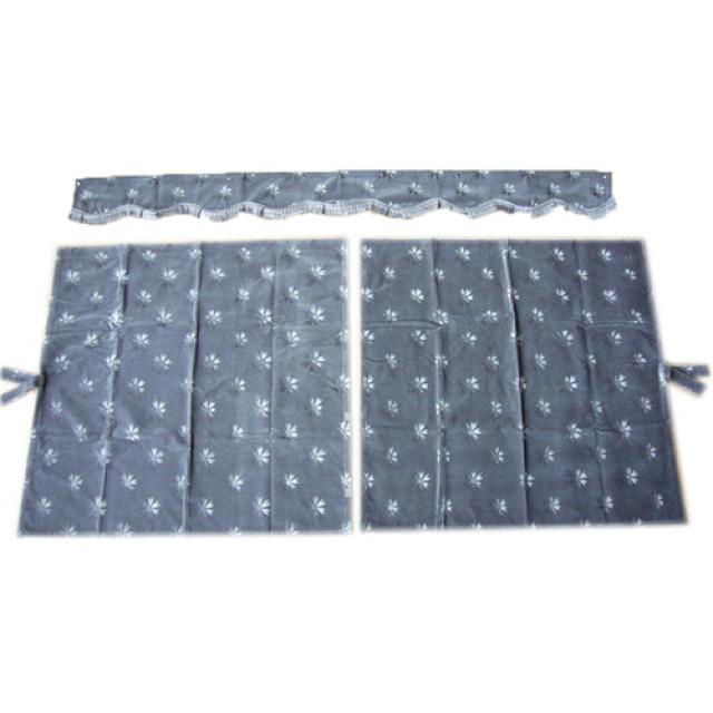 3点式センターカーテン [コスモス:グレー] 幅1150×丈1100mm 2枚入(波型の前飾り付) [4t~大型用]