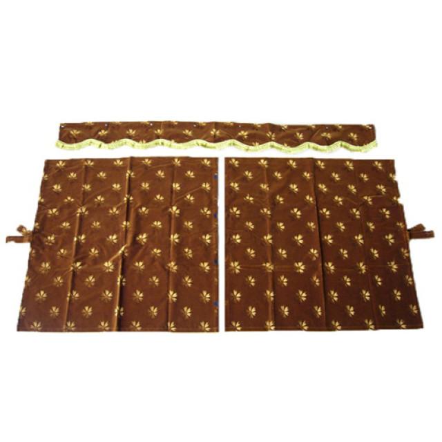 3点式センターカーテン [コスモス:ゴールド(金) ] 幅1150×丈1100mm 2枚入(波型の前飾り付) [4t~大型用]