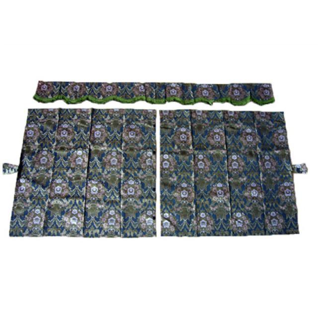 3点式センターカーテン [花かご:グリーン(緑) ※フレンジ緑] 幅1150×丈1100mm 2枚入(波型の前飾り付) [4t~大型用][花籠]