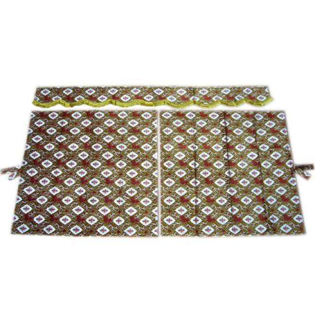 3点式センターカーテン [大花束:オレンジ(橙) ※フレンジ金] 幅1150×丈1100mm 2枚入(波型の前飾り付) [4t~大型用]