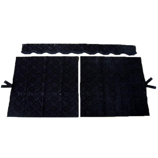 3点式センターカーテン [ローレル:ブラック(黒) ] 幅1150×丈1100mm 2枚入(波型の前飾り付) [4t~大型用]