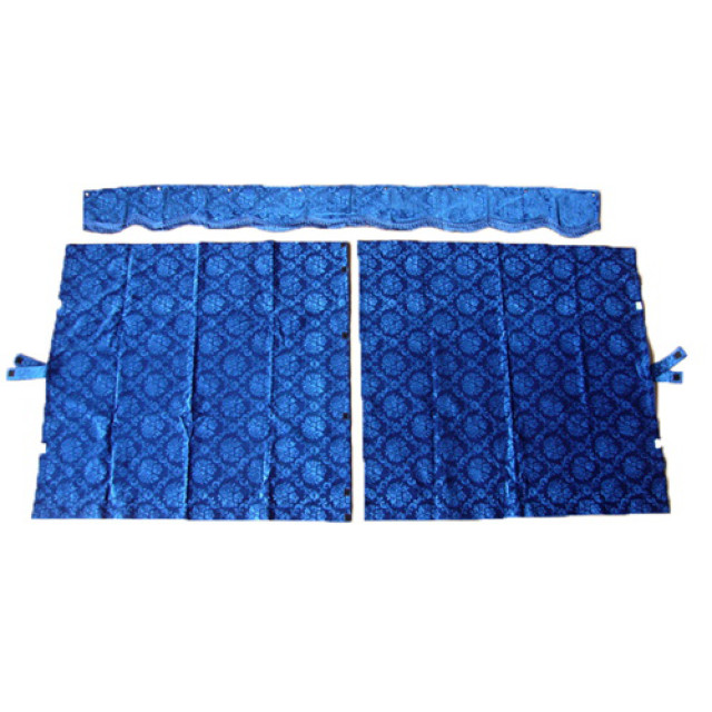 3点式センターカーテン [ローレル:ブルー(青) ] 幅1150×丈1100mm 2枚入(波型の前飾り付) [4t~大型用]