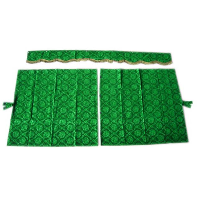 3点式センターカーテン [ローレル:グリーン(緑) ※フレンジ金] 幅1150×丈1100mm 2枚入(波型の前飾り付) [4t~大型用]