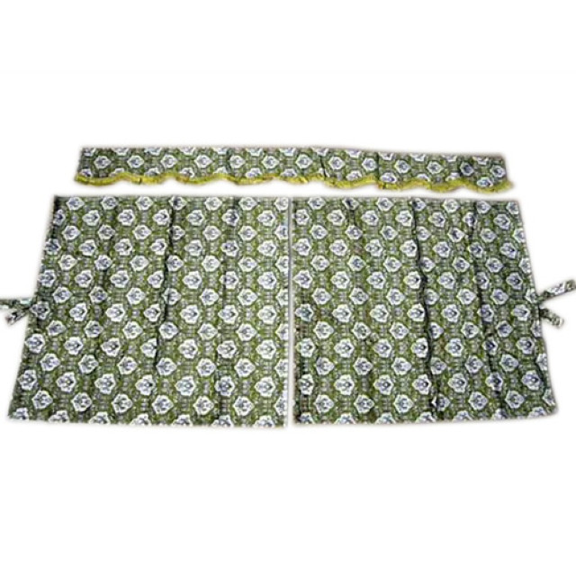 3点式センターカーテン [新格子:グリーン(緑) ※フレンジ金] 幅1150×丈1100mm 2枚入(波型の前飾り付) [4t~大型用]