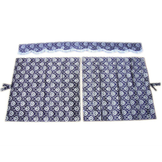 3点式センターカーテン [新格子:濃紺 ※フレンジ白] 幅1150×丈1100mm 2枚入(波型の前飾り付) [4t~大型用]