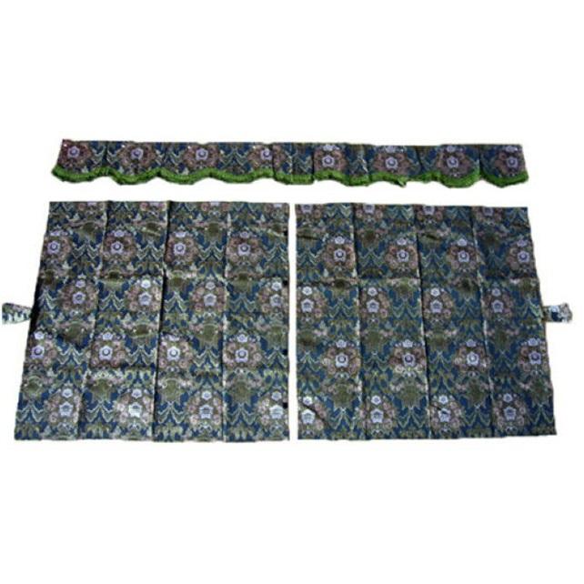 金華山 3点式センターカーテン 花かご 1150×1100mm 2枚入(波型前飾り付) 4t~大型用