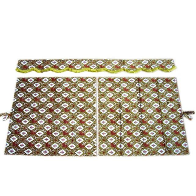 金華山 3点式センターカーテン 大花束 1150×1100mm 2枚入(波型前飾り付) 4t~大型用