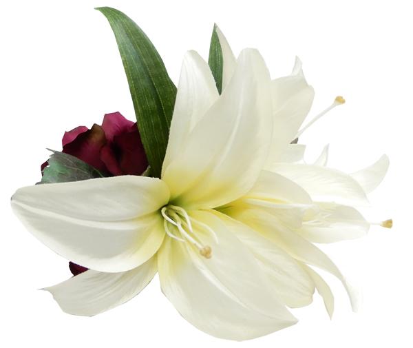 フラダンス衣装 髪飾り プルメリア 花飾り ヘアクリップ レイ イベント アレンジ ヘアクリップ KC-018 アイボリー ボルドー