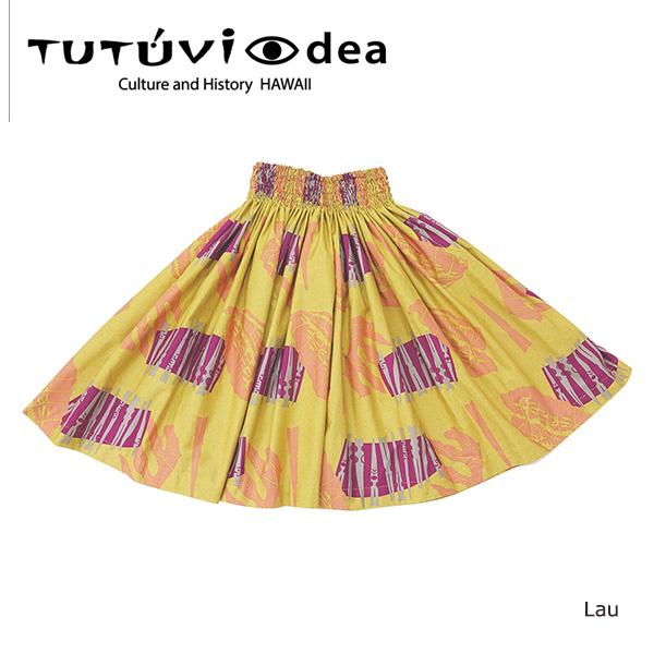 フラダンス衣装 パウスカート スカート フラ パウ TUEYE3 TUTUVI EYEDEAパウ (柄:LAU ラウ/色:マスタード)