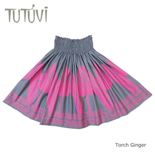 フラダンス衣装 パウスカート スカート フラ パウ TUP-FT454 TUTUVIパウ 柄:トーチジンジャー 色:チャコール・ピンク