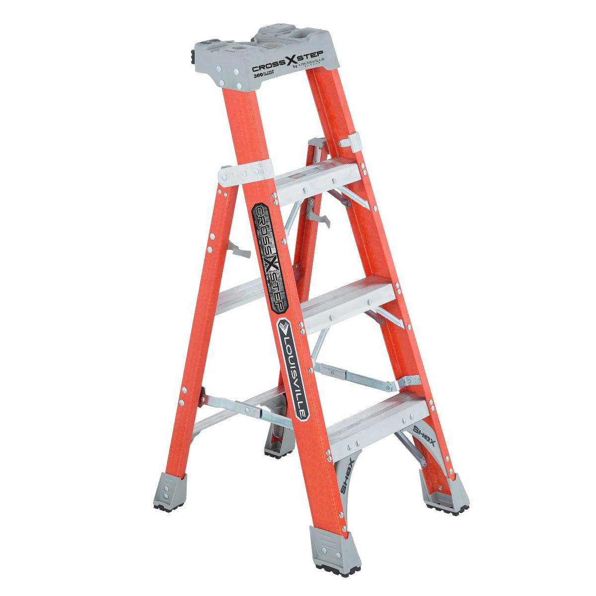 Louisville Ladder(ルイスビルラダー) ファイバーはしご脚立クロスステップ[ オレンジ]耐荷重135kg【4ft(120cm)】