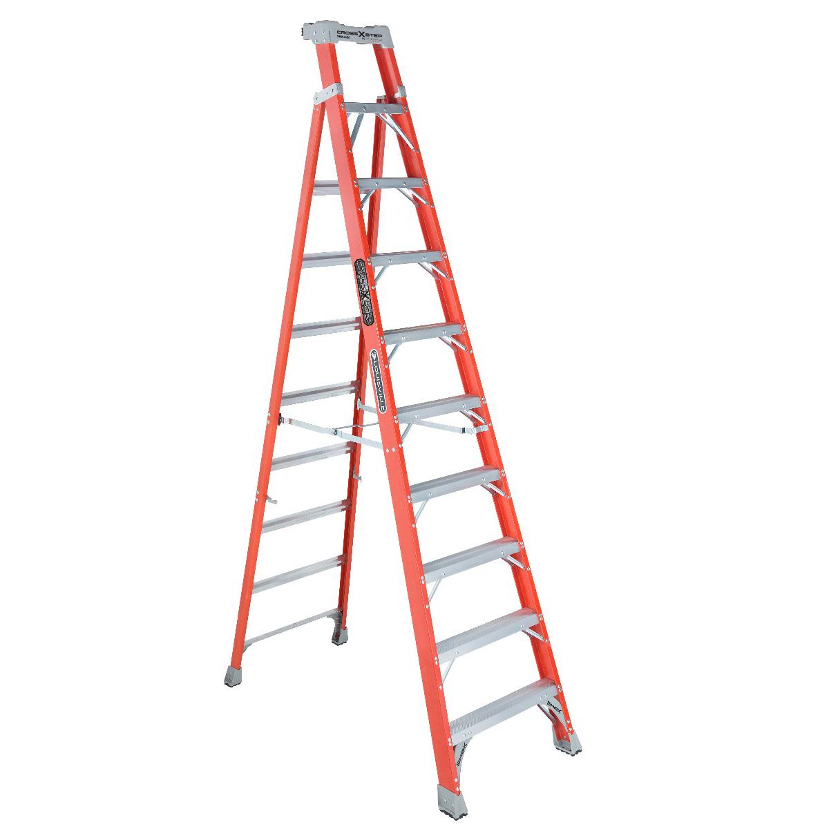 Louisville Ladder(ルイビルラダー) ファイバーはしご脚立クロスステップ[ オレンジ]耐荷重135kg【10ft(300cm)】