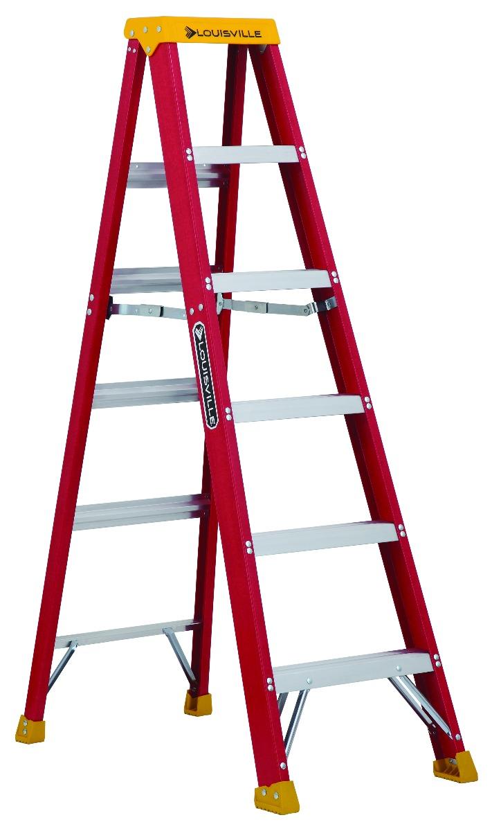 Louisville Ladder(ルイビルラダー) ファイバー脚立シングルステップ[レッド]耐荷重135kg【6ft(180cm)】