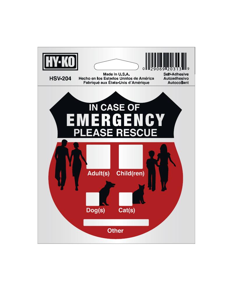 緊急救助シール HY-KO 4x4 SELF 高額売筋 期間限定送料無料 RESCUE EMERGNCY ADHアルミステッカー